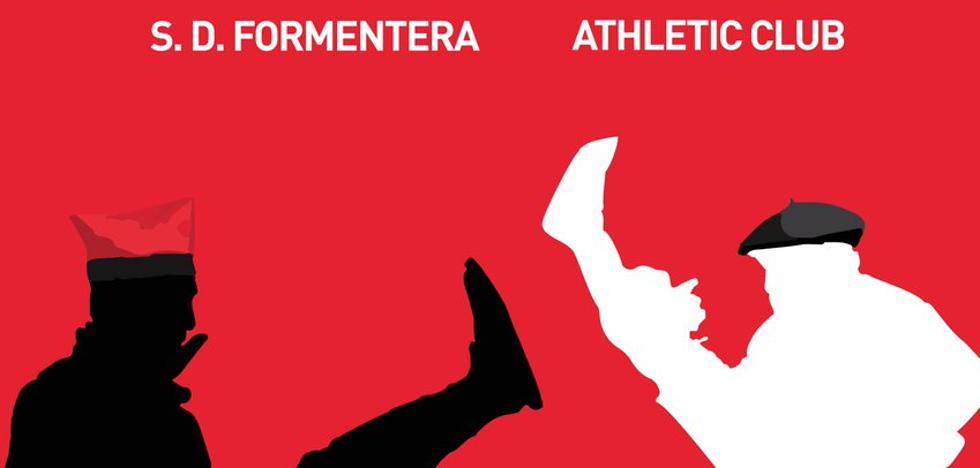 El Formentera promociona el partido contra el Athletic con un cartel con dos dantzaris