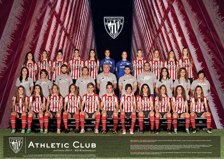 Plantilla del Athletic Club femenino para la temporada de fútbol 2017 - 2018.