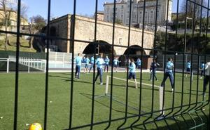Los jugadores del Olympique de Marsella entrenan en el hotel de Begoña