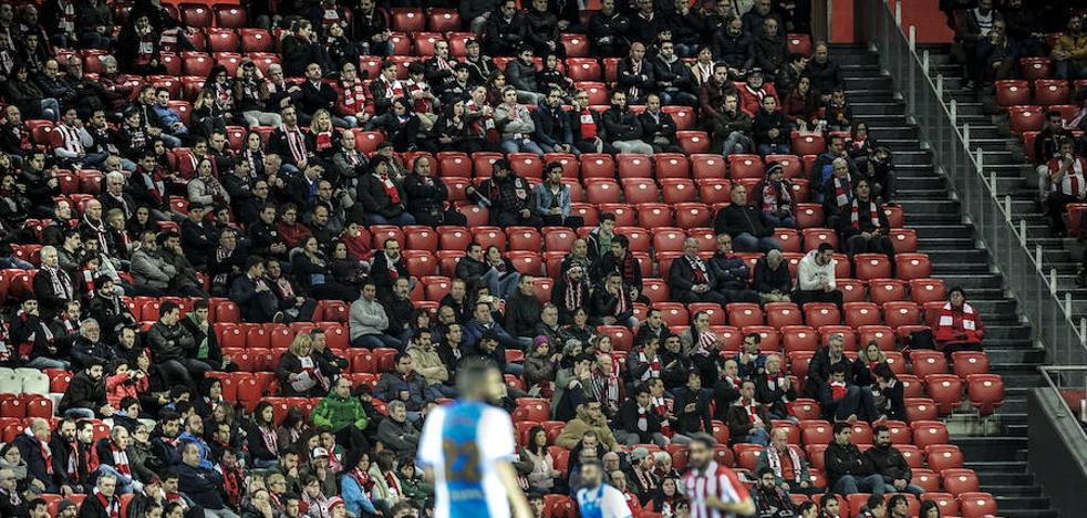 La asistencia a San Mamés se desploma: ya van menos de 40.000 espectadores