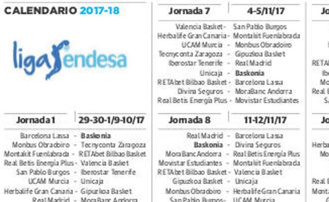 Calendario ACB del Baskonia para la temporada 2017-2018