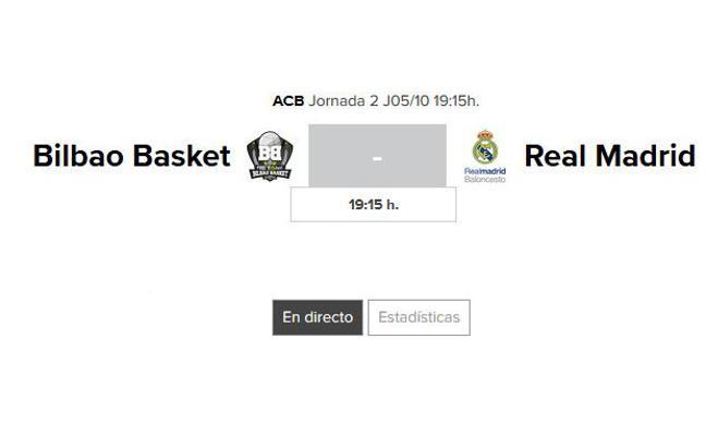 Bilbao Basket - Real Madrid: horario y TV