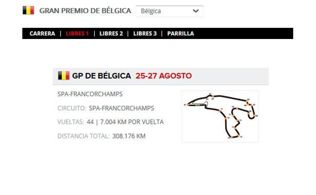 GP F1 Bélgica 2017 directo: horarios y clasificaciones de entrenamientos en Spa, online