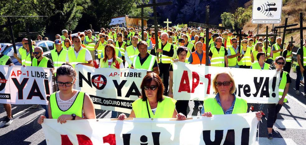 400 personas cortan la Nacional en Pancorbo para exigir la AP-1 sin peaje