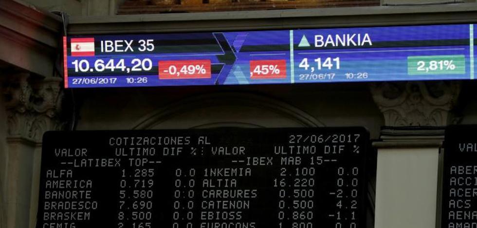 El Ibex busca los 10.400 puntos y cierra con una subida del 0,39%