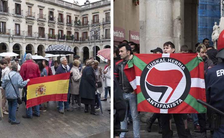 Dos concentraciones se enfrentan en Vitoria a favor y en contra de la unidad de España