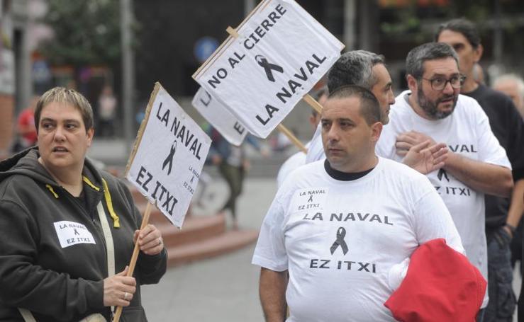 Los trabajadores de La Naval se manifiestan en Barakaldo ante el concurso de acreedores del astillero