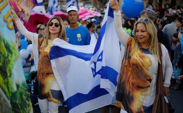 Colorida manifestación en apoyo a Israel en Jerusalén