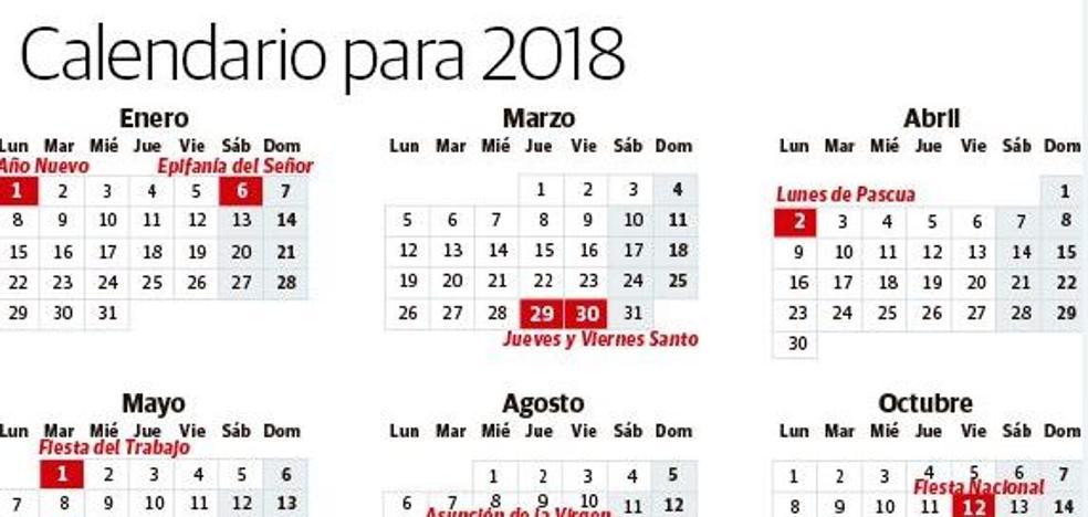 Calendario laboral 2018: los días festivos en España