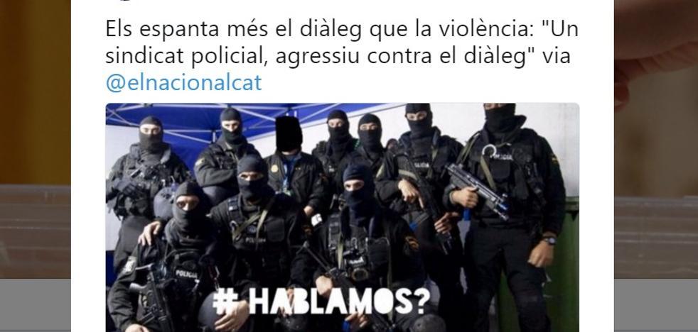 Puigdemont responde al polémico tuit de un sindicato policial con agentes armados
