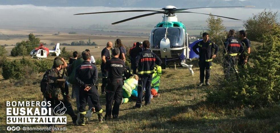 Rescatan en helicóptero a un cazador herido en las inmediaciones de Eguileor, en Álava