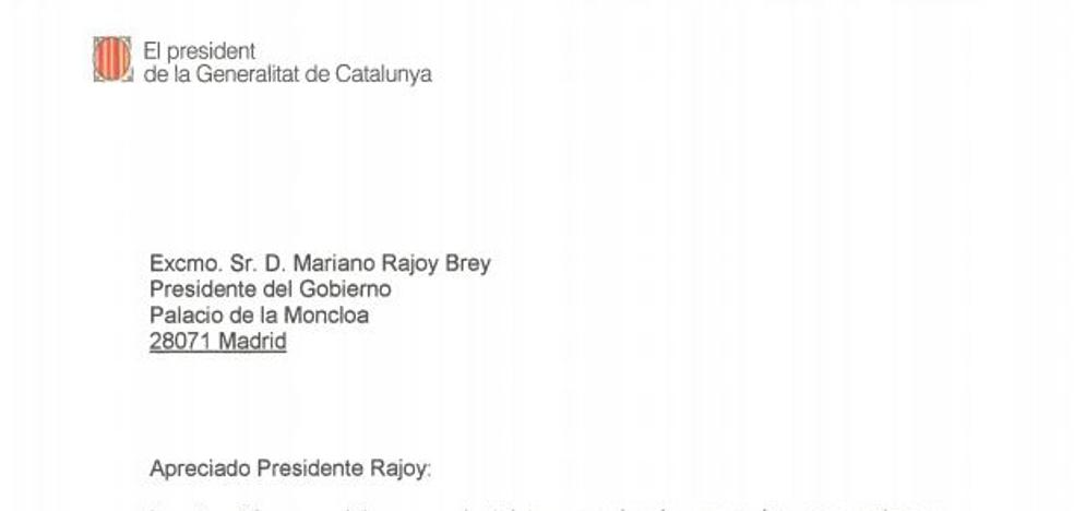 Consulta la carta enviada por Puigdemont a Rajoy