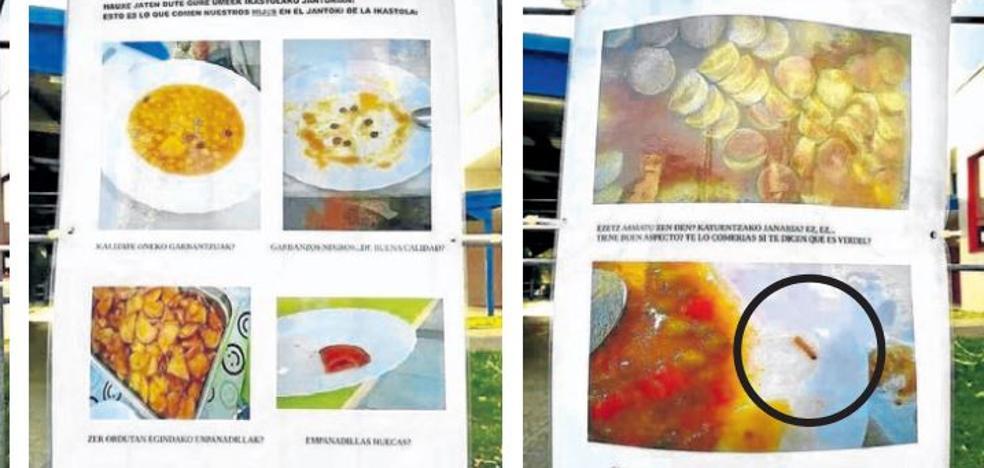 Padres de una ikastola de Muskiz denuncian la mala calidad del menú tras hallar un gusano