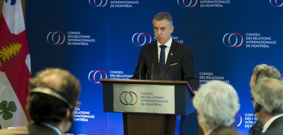 El PP pide al PNV que «deje de estorbar con gestos» como el viaje de Urkullu a Quebec
