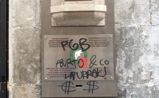 Pintarrajean la Hucha de los Txikiteros en el Casco Viejo de Bilbao