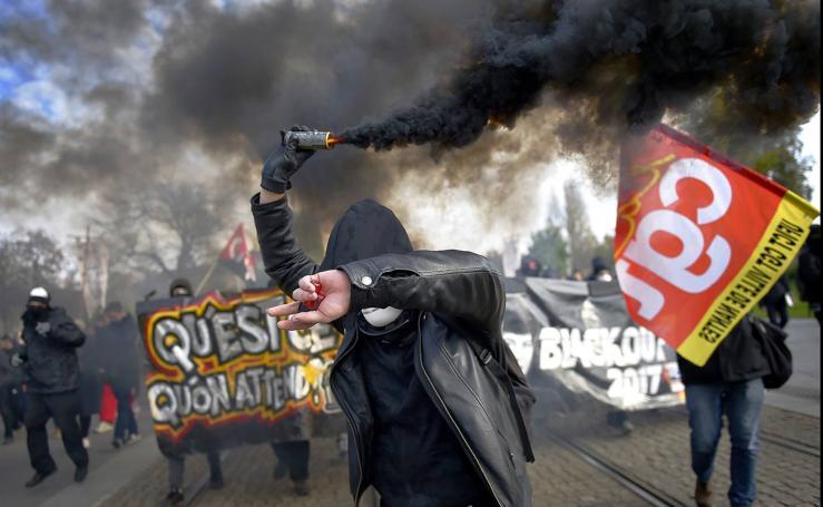 Protestas contra las reformas del Gobierno francés en Nantes