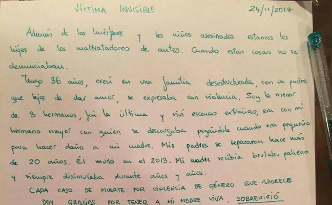 La carta y el dolor de una víctima invisible de la violencia machista