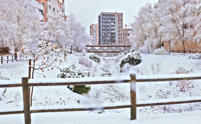 Vitoria resiste la primera nevada de un fin de semana gélido