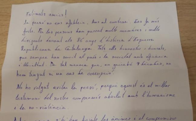 «La prisión no nos debilita. Nos hace más fuertes», escribe Junqueras desde Estremera