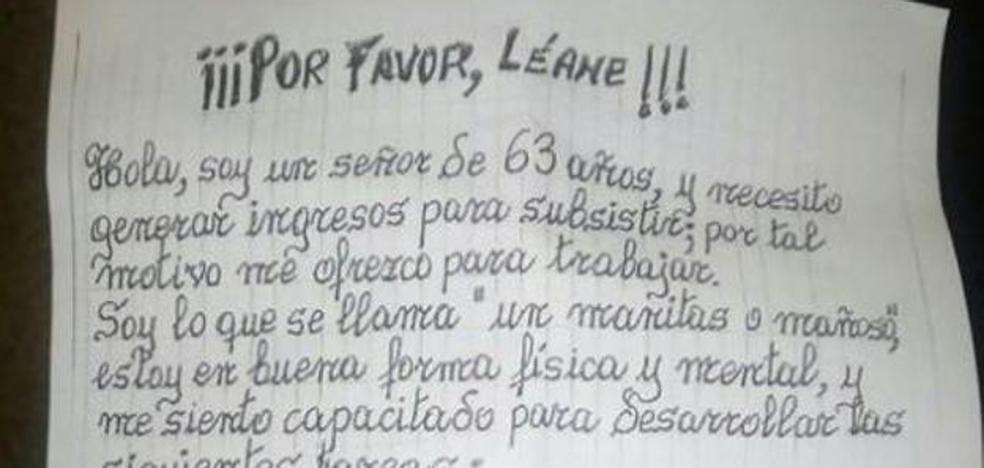 La carta de un hombre de 63 años pidiendo trabajo que conmociona a la red