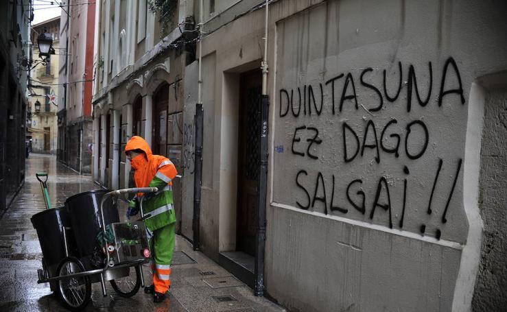 La manifestación a favor de los presos deja huella en Bilbao