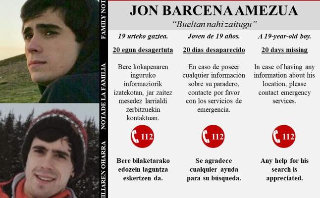 La familia de Jon Bárcena vuelve a pedir ayuda al cumplirse 20 días de su desaparición