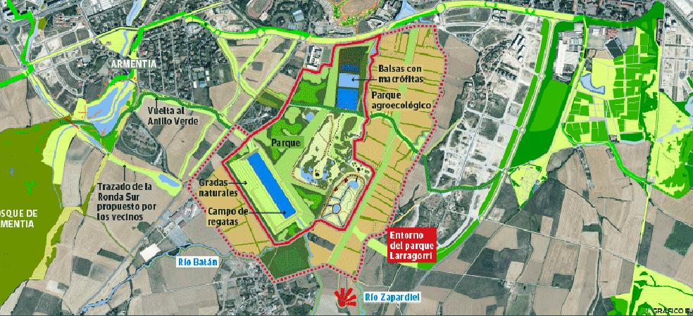 El parque de las graveras de Lasarte frenará la extensión urbana hacia el Sur
