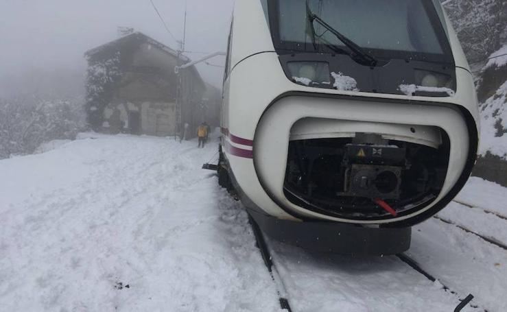 El tren, parado en medio de la nieve