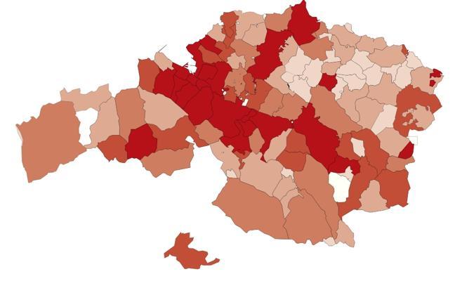 El dinero que da la Diputación a cada municipio vizcaíno