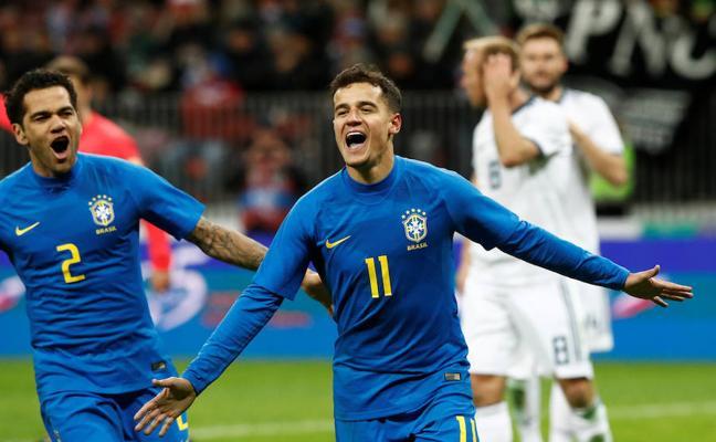 Coutinho y Paulinho hacen de Neymar