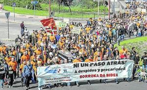 Los trabajadores de Productos Tubulares llevan hasta Barakaldo su apoyo a la acería