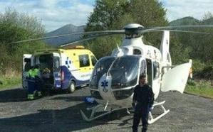Trasladado en helicóptero un ciclista tras sufrir una caída en Güeñes