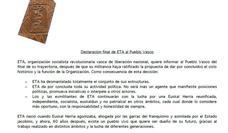 ETA hace oficial su disolución con una declaración en la que justifica su terrorismo
