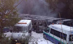 Conflicto en el sector de las ambulancias: 35 unidades arden en Arrigorriaga en un nuevo sabotaje