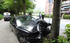 Dos jóvenes heridos tras empotrar su coche contra un árbol en Txurdinaga