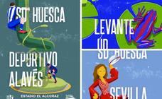La colección de carteles del Huesca en su debut en Primera