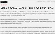 El Athletic copia el comunicado de salida de Laporte para despedir a Kepa
