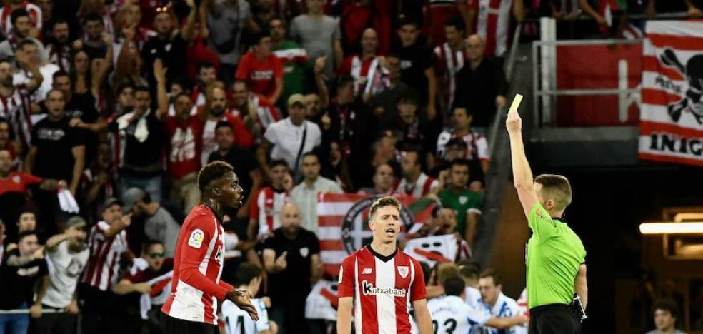 El Athletic, el equipo más tarjeteado