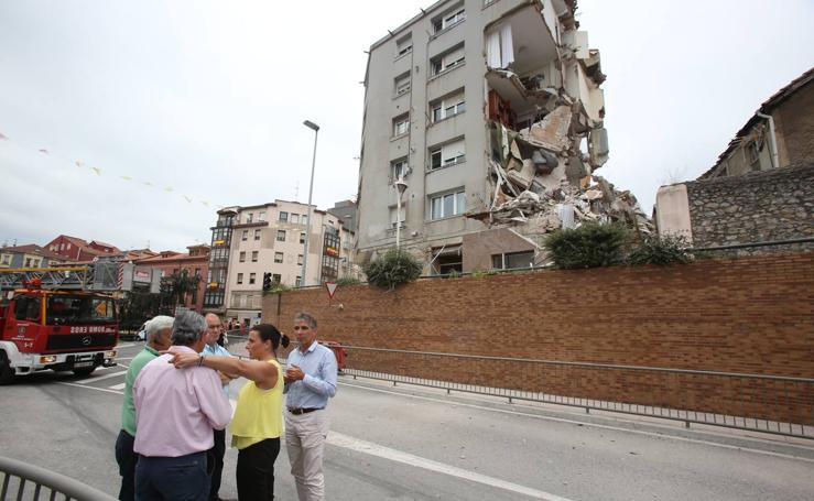 Colapsa un edificio agrietado en Santander