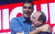 Pedro Sánchez y Miquel Iceta, en Bilbao la víspera del referéndum catalán