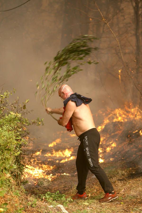 Desesperada lucha contra el fuego en Galicia
