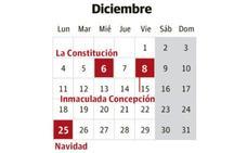Los días festivos de diciembre 2017