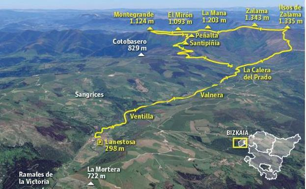 Ruta Zalama (1.343 m.), Ilsos de Zalama (1.335 m.), La Mana (1.203 m.), Montegrande/Salduero (1.124 m.) y El Mirón (1.093 m.)