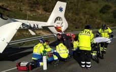Dos conductores resultan heridos graves tras sufrir una colisión frontal en Campezo