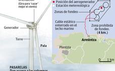 Molinos eólicos tan altos como la Torre Iberdrola frente a la costa de Armintza