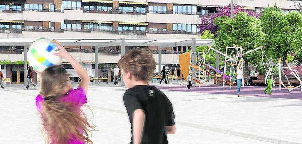 La pérgola de la plaza de Santa Bárbara empezará a instalarse esta semana