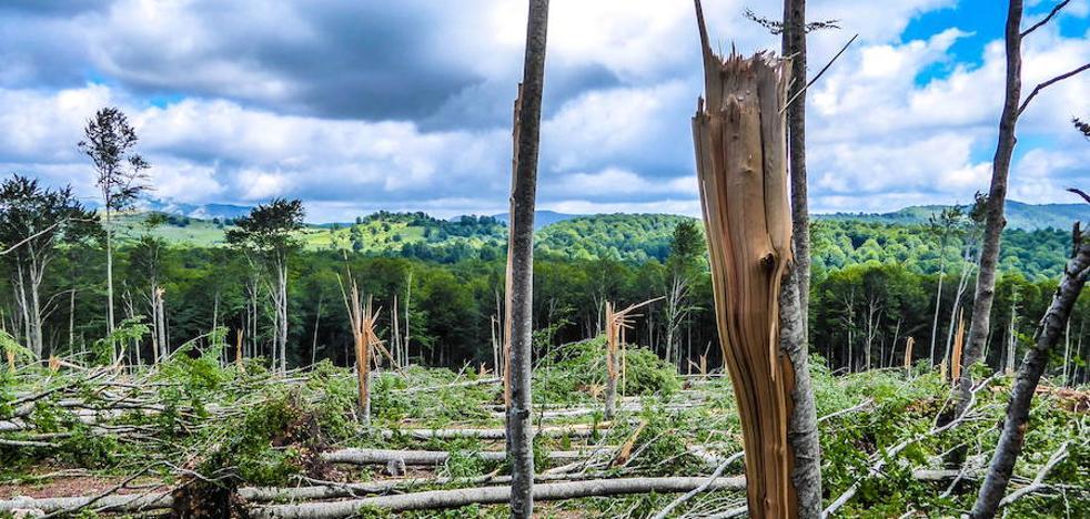El tornado de la sierra de Entzia, a vista de pájaro