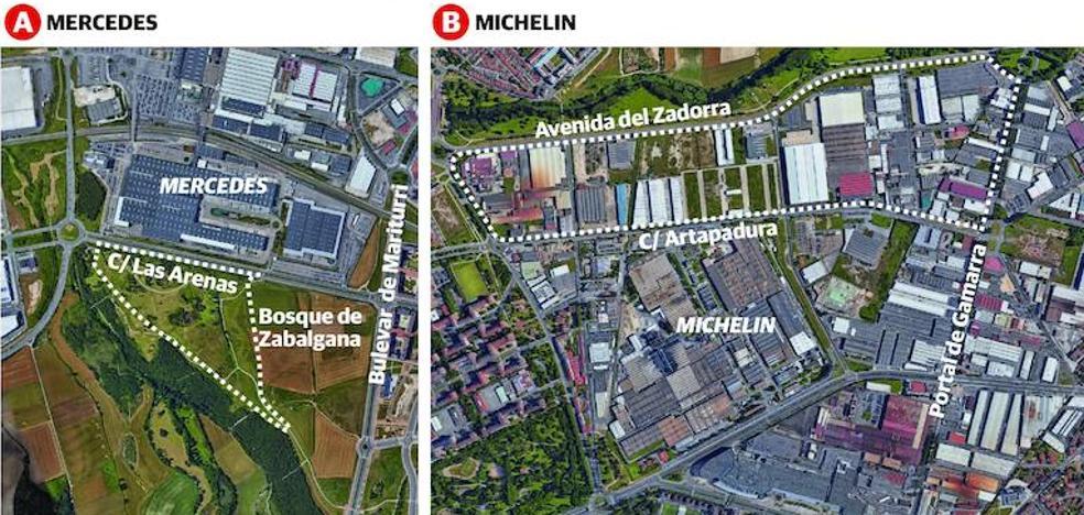 Vitoria estudia ampliar Mercedes y Michelin por el bosque de Zabalgana y el polígono de Gamarra