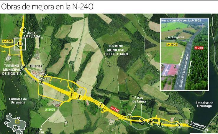 Las obras de reforma de la N-240 en Legutiano