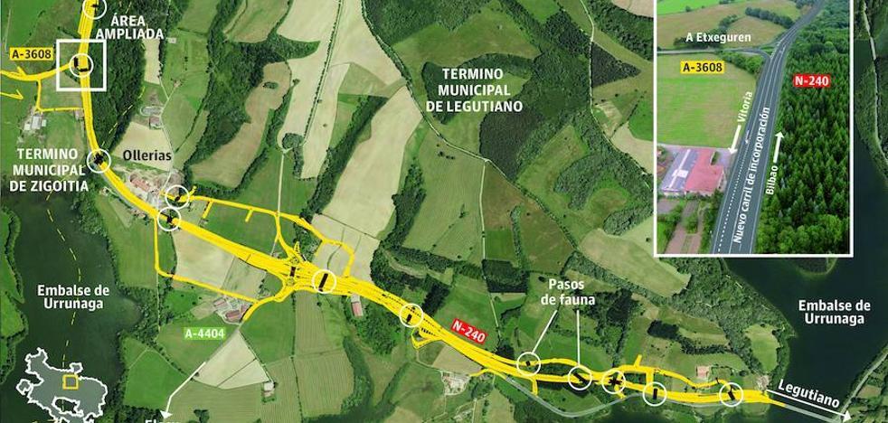 Arranca la reforma de la N-240 en Legutiano, con una inversión de 8,5 millones y dos años de obras